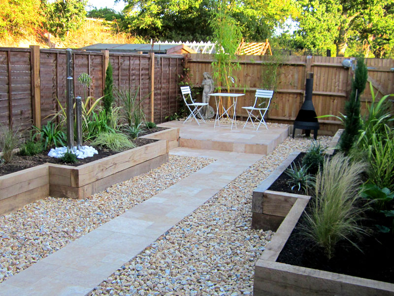 Maintenance free garden with water feature