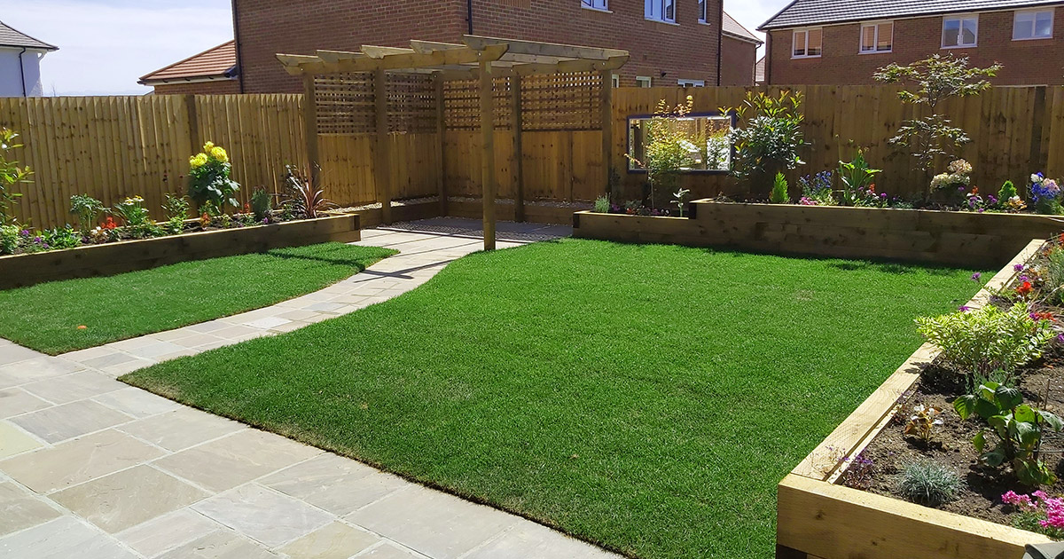 Full garden makeover on new build by Shakespeares Landscapes