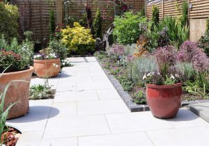Porcelain paving by Shakespeare's Landscapes, West Sussex.